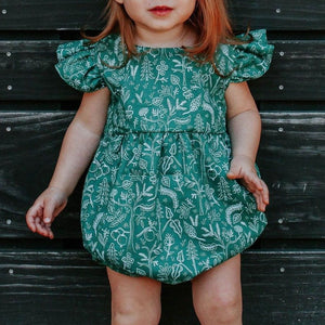 infant girls green rifle paper woodland print bubble romper