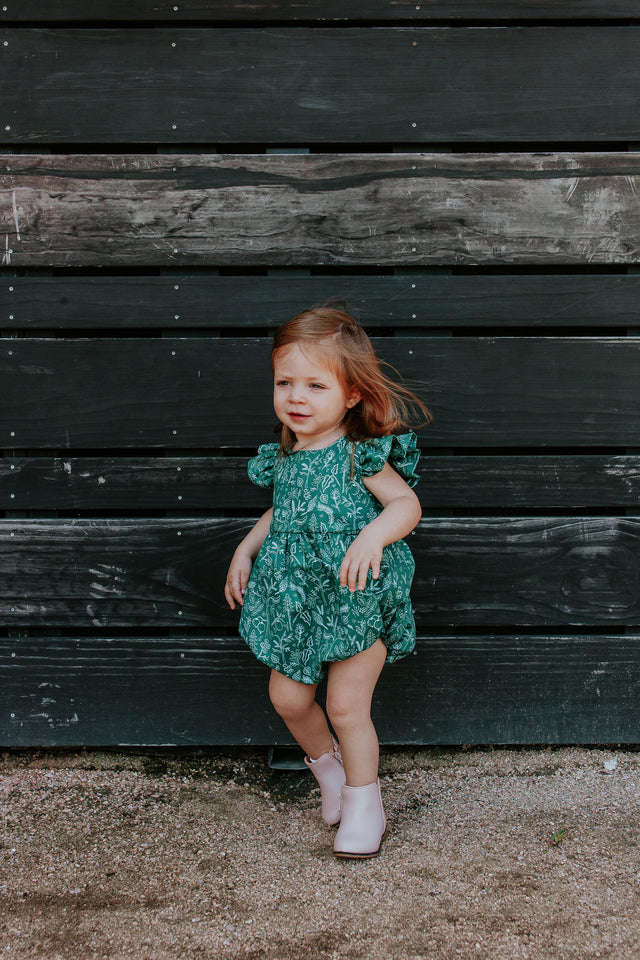 green rifle paper bubble romper for baby