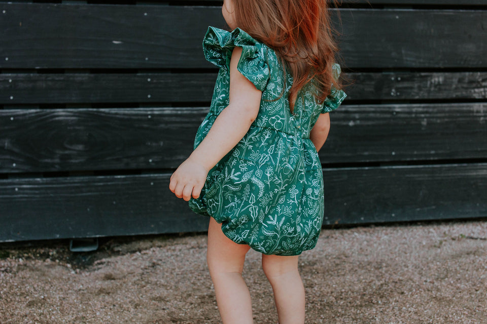 rifle paper green bubble romper baby