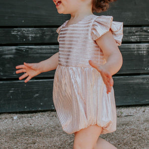 Infant Girl's Pink Metallic Bubble Romper