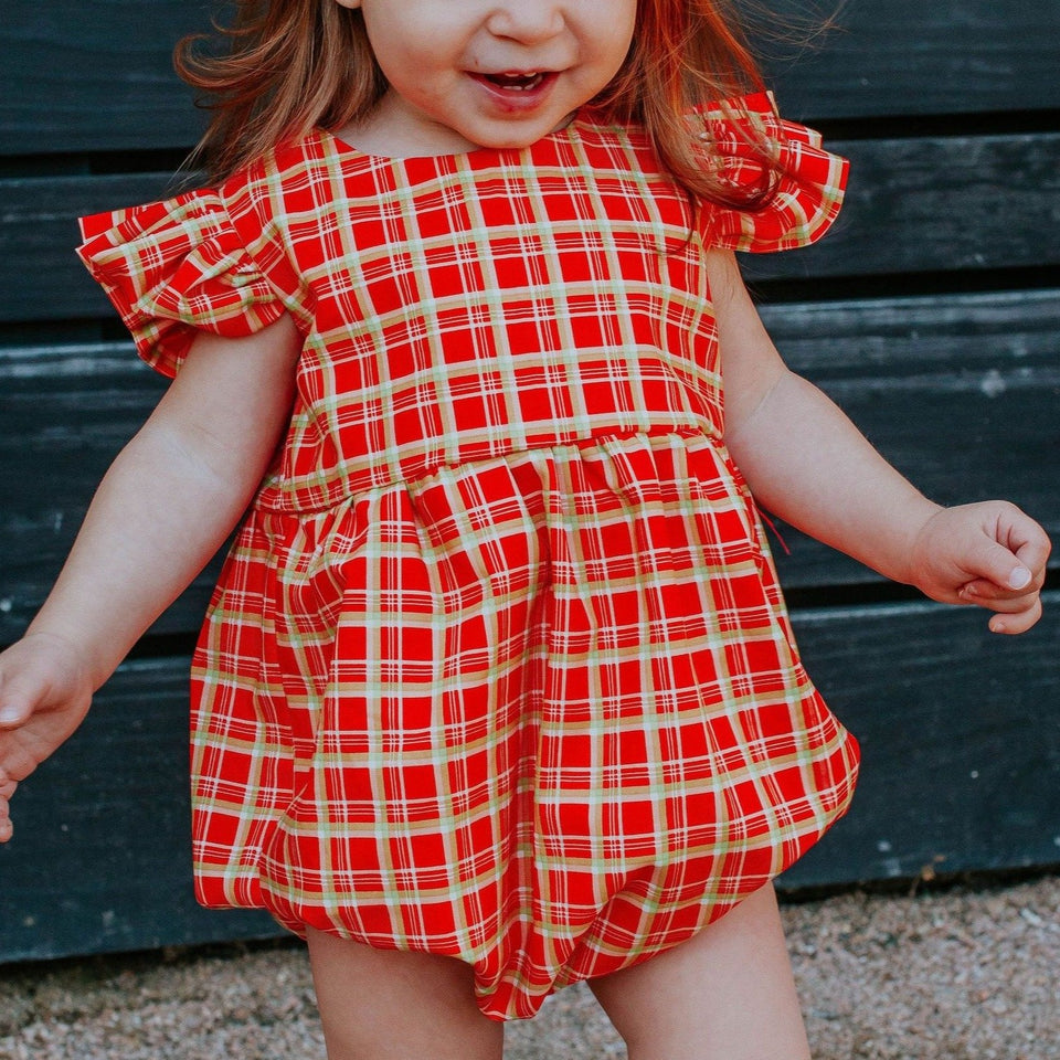 infant girls red and gold tartan print christmas bubble romper