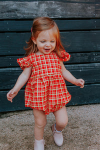 cute tartan print christmas outfit for baby