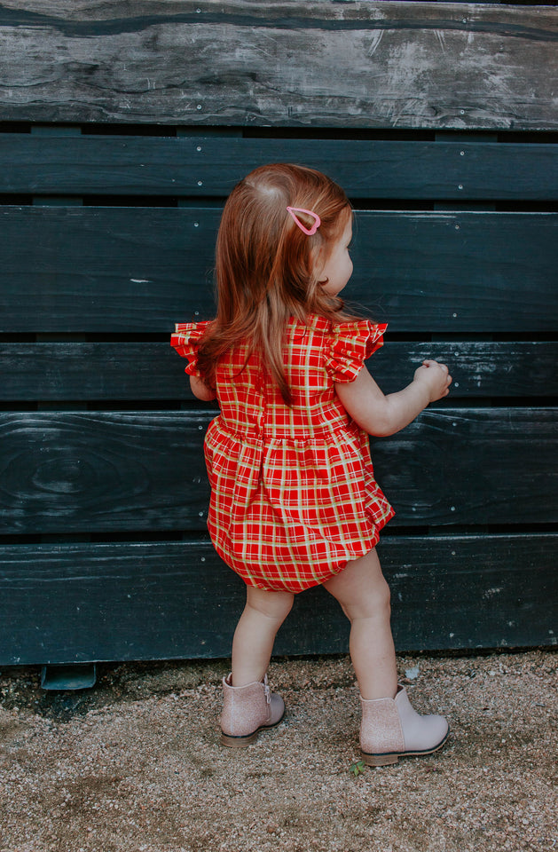 Infant Girl's Red and Gold Tartan Print Christmas Bubble Romper
