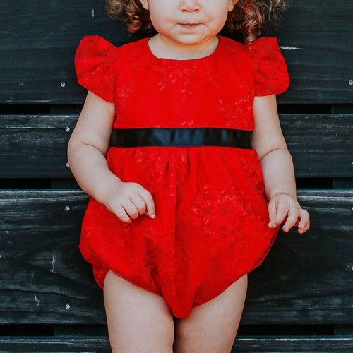 Infant Girl's Red Lace Bubble Romper with Black Satin Sash