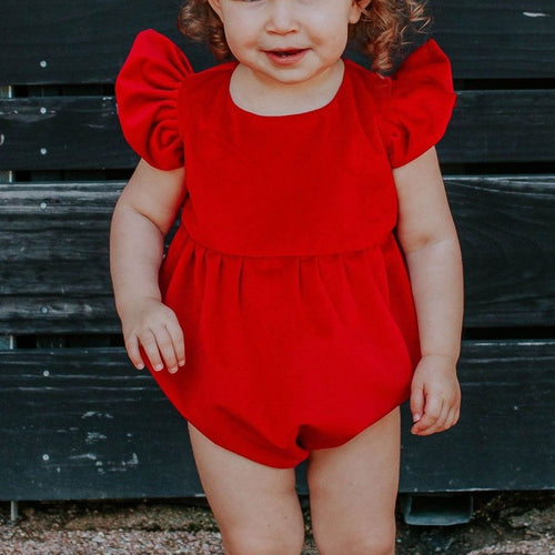red velvet bubble romper