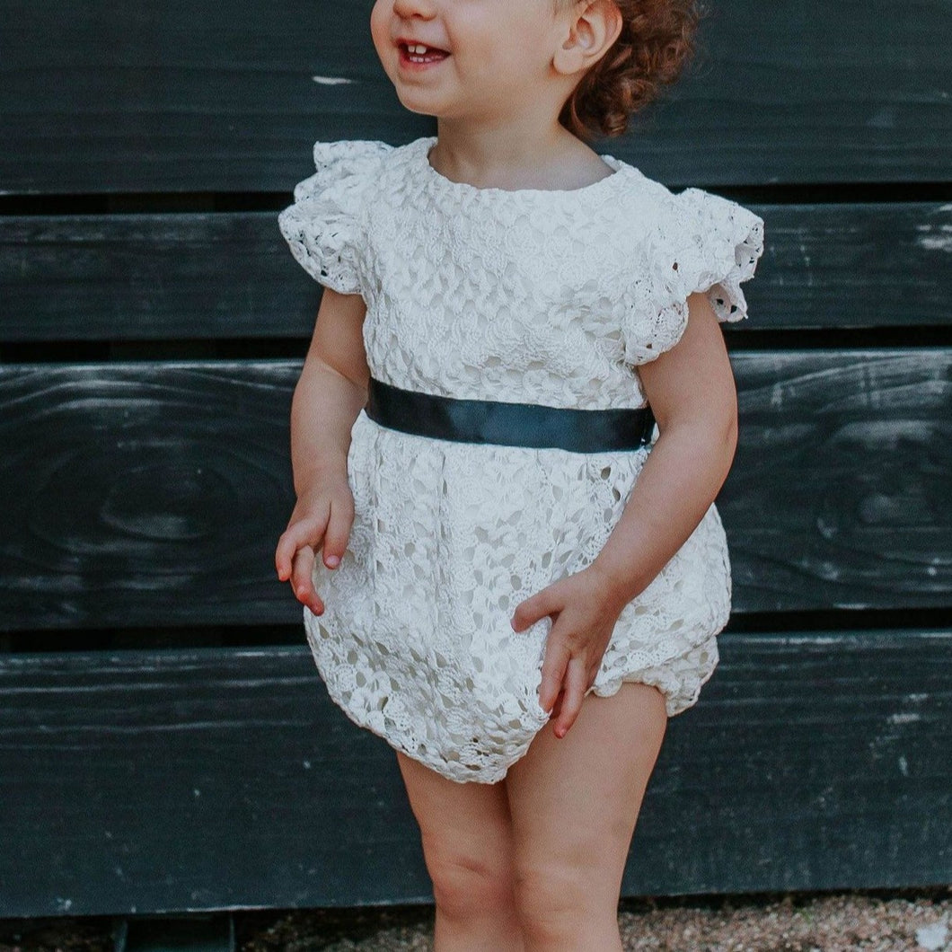 Infant Girl's White Lace Bubble Romper with Black Satin Sash
