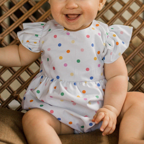 rainbow polka dot bubble romper