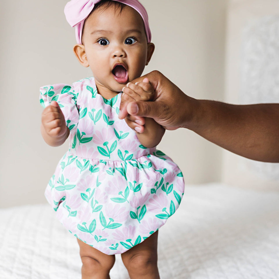 infant girls pink and green floral bubble romper