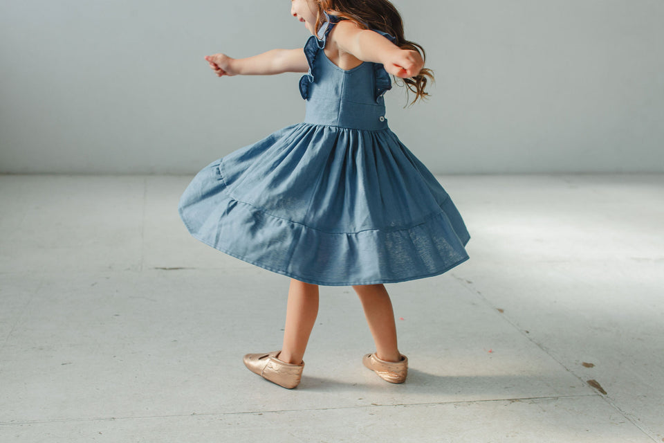 Little Girl's Blue Linen Flutter Sleeve Ruffle Dress