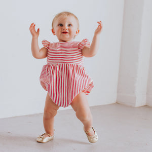 Infant Girl's Crimson and White Stripe Cotton Bubble Romper