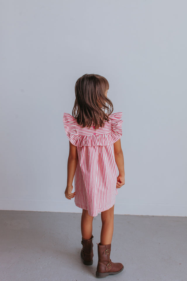 Little Girl's Crimson and White Stripe Ruffle Cotton Dress