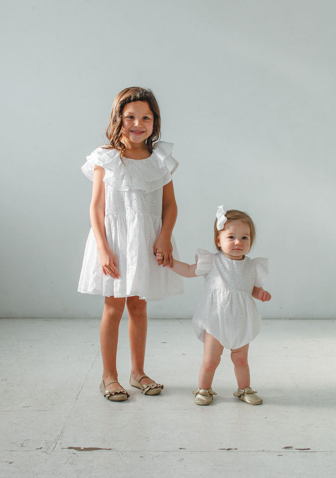 white eyelet matching outfits for girls