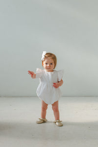 white eyelet bubble romper