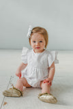 baby girl's white bubble romper