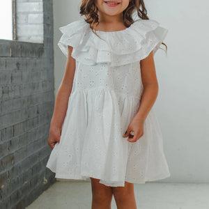 little girl's white eyelet ruffle dress
