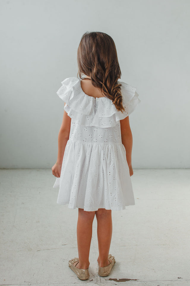 little girl's special occasion white eyelet dress