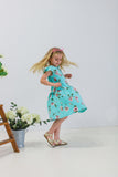 girls turquoise floral dress