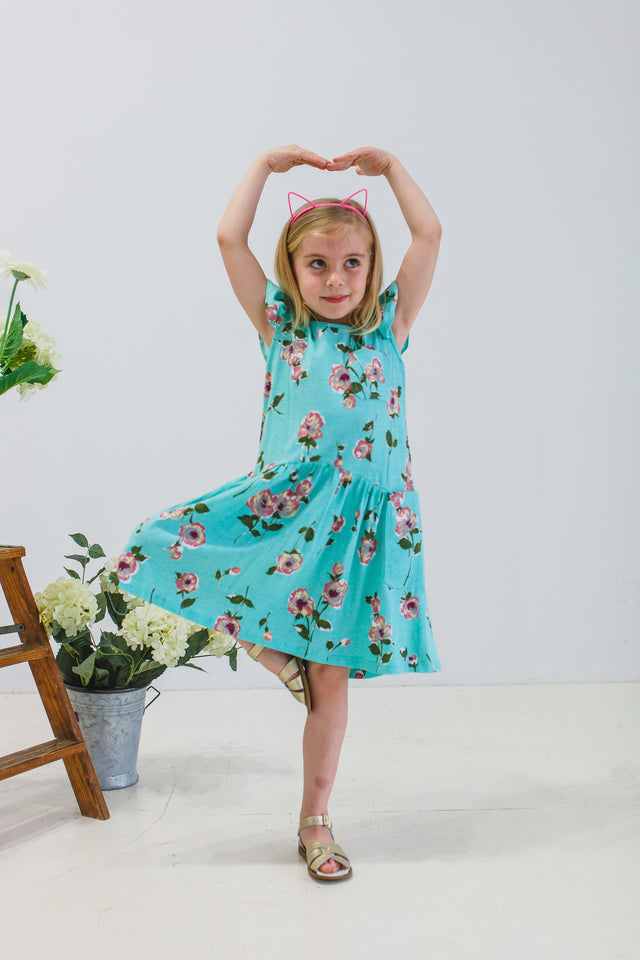 little girls turquoise jersey dress