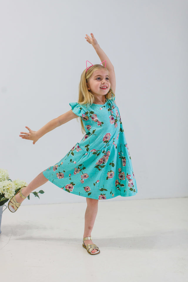 little girls turquoise floral dress