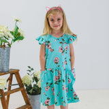turquoise jersey floral dress
