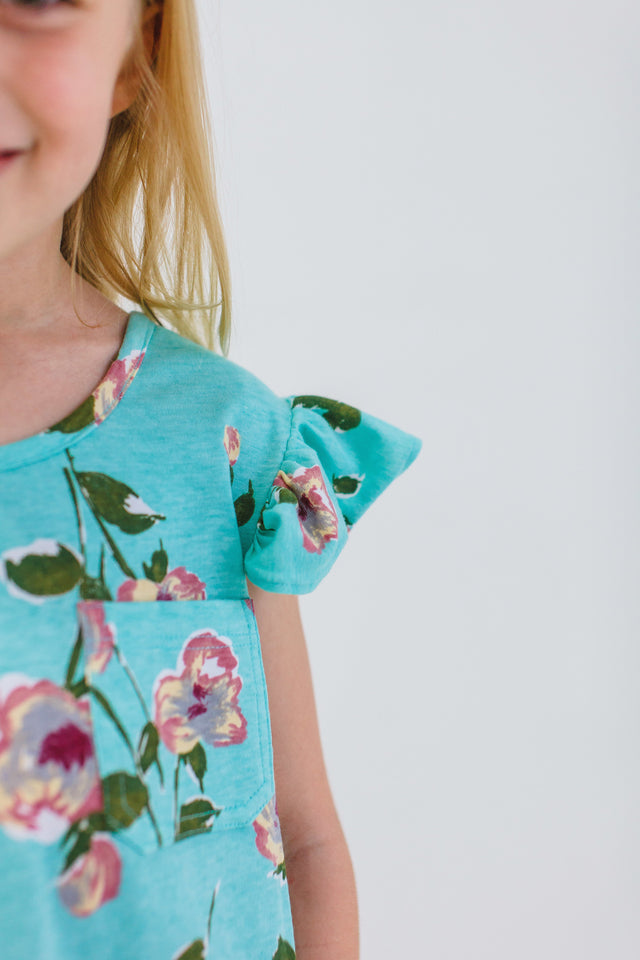 girls turquoise jersey floral dress