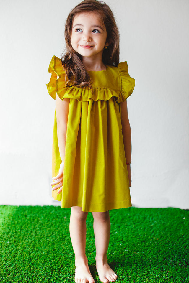 mustard yellow dress for toddler