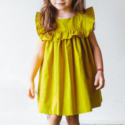 Girl's Mustard Yellow Ruffle Cotton Dress