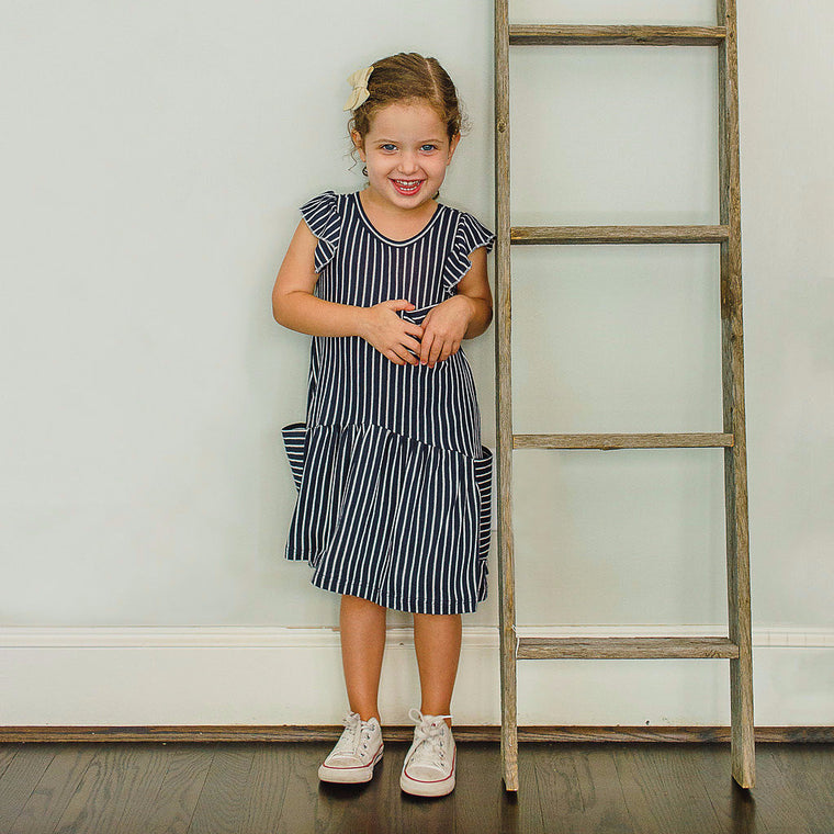 kids navy and white stripe dress