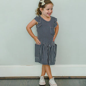 girls navy and white jersey dress