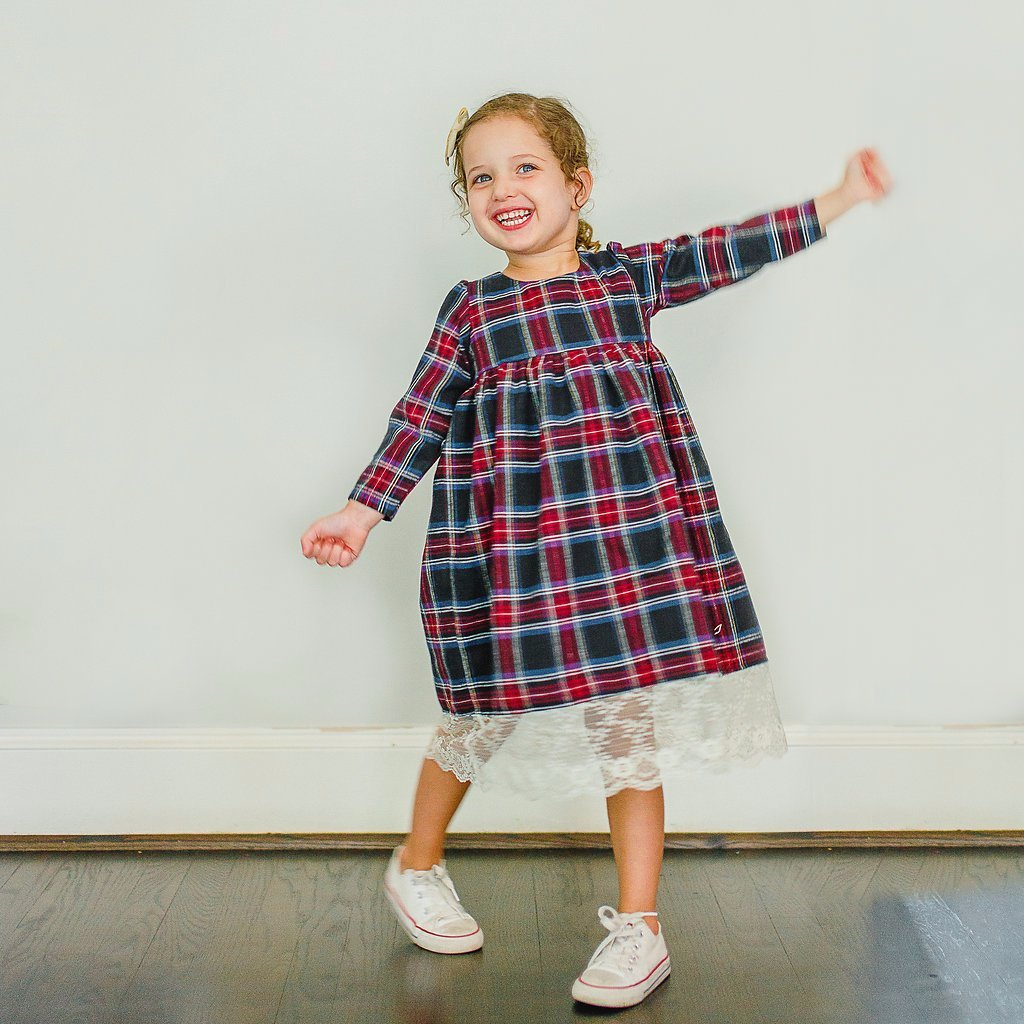 lace and plaid dress kids