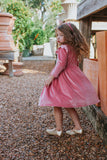 girls pink velvet Christmas dress