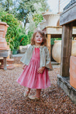 little girls pink velvet dress