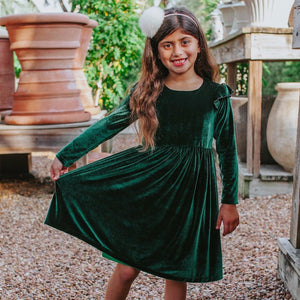 Little Girl's Green Velvet Flutter Sleeve Dress