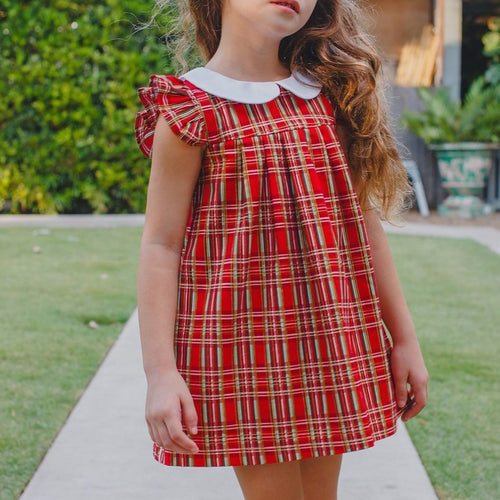 Little Girl's Christmas Tartan Plaid Peter Pan Collar Shift Dress