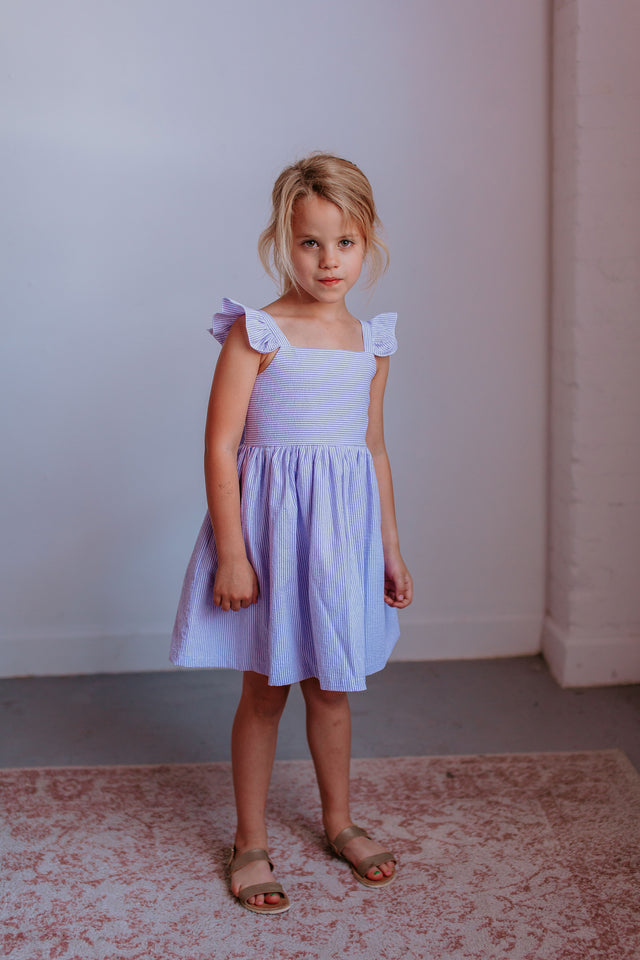 purple cotton seersucker dress