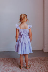 little girl's lavender seersucker dress