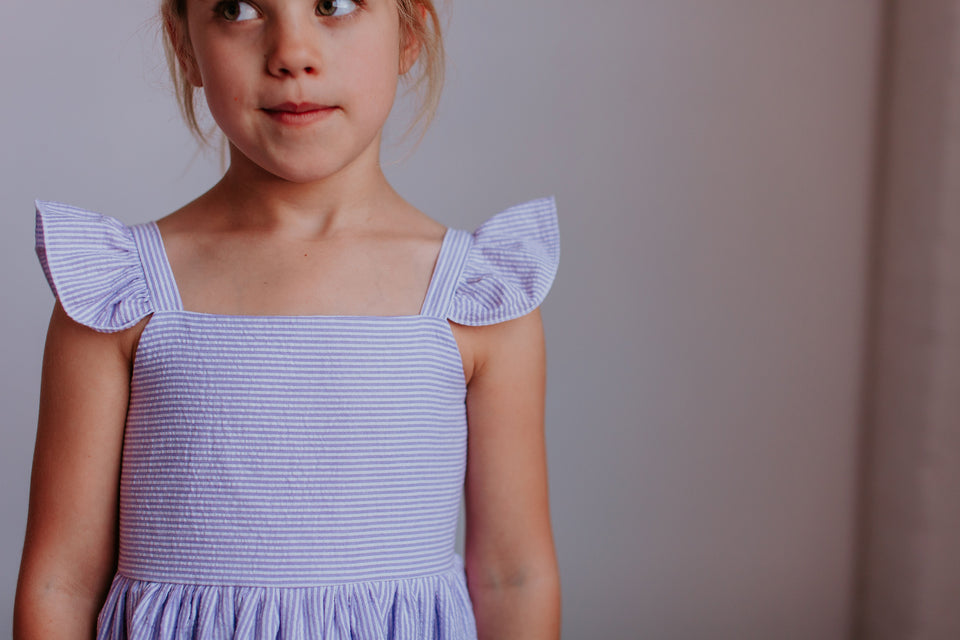 Girl's Lavender Seersucker Flutter Sleeve Dress