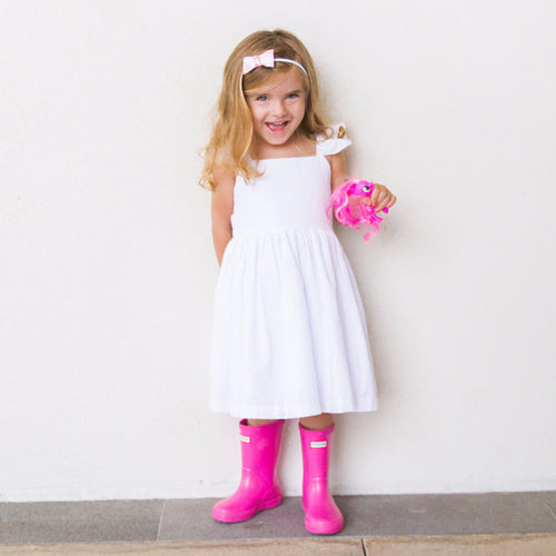 Little Girl's White Cotton Seersucker Dress