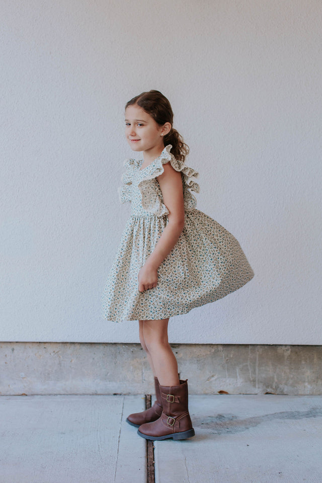little girl's calico floral dress