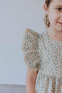calico dress with vintage lace trim