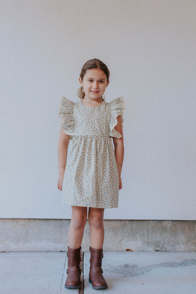 Little Girl's Beige and Blue Ditsy Floral Calico Print Pinafore Dress with Crochet Lace Trim