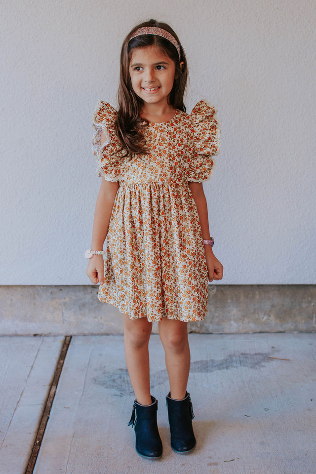 little girls calico floral ruffle dress