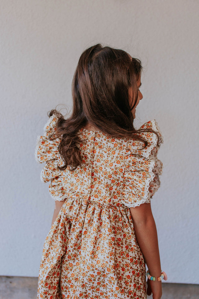 girls calico floral dress