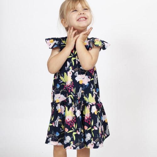 Little Girl's Multicolor Floral Three Pocket Jersey Dress
