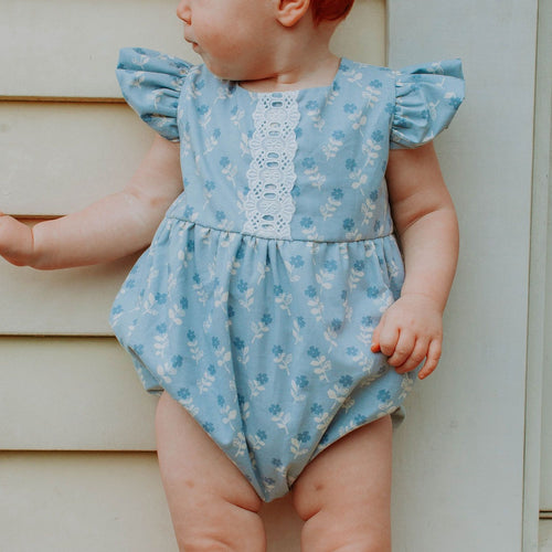 Infant Girl's Blue Gray Floral Bubble Romper with Lace Trim