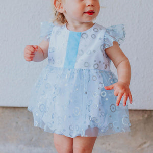 Infant Girls Frozen Elsa Blue and Silver Skirted Tulle Bubble Romper Dress
