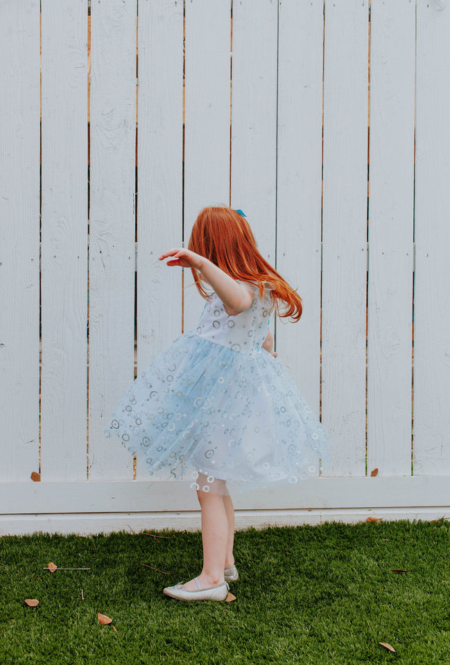 little girls tulle blue and silver dress