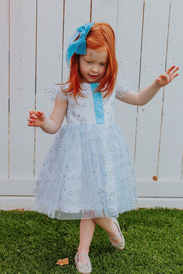 frozen 2 elsa tulle blue and silver dress