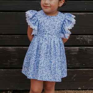 little girls blue and white calico floral chinoiserie dress