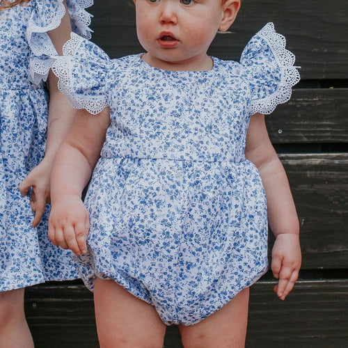 baby girls calico floral blue and white bubble romper